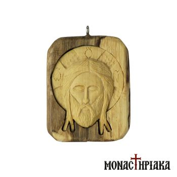 "Encolpion ""Holy Mandylion"" Carved on Olive and Boxwood"