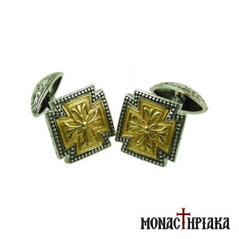 Silver Cufflinks with Gold Plated Cross