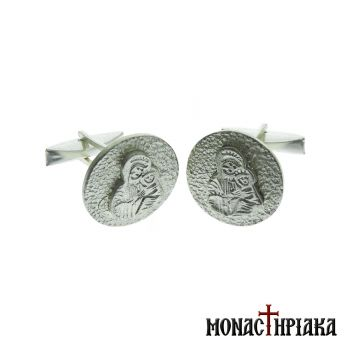 Silver Cufflinks with Virgin Mary