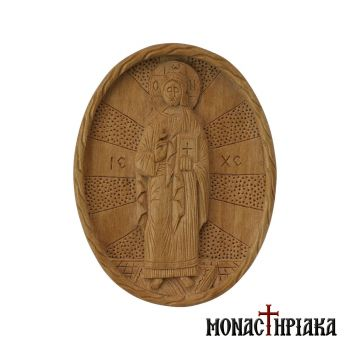 "Wood carved engolpion (panagia) with ""Blessing Jesus"""